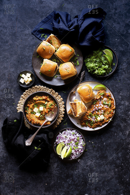 Indian Street Food - Spiced Mashed Vegetable Stew with buttered diner rolls.