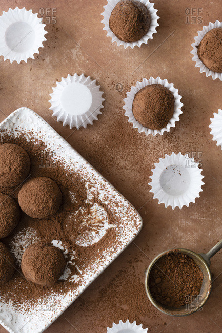 Chocolate truffles coated with coconut