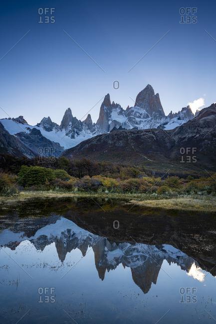 Fitz Roy in autumn before sunset, Los Glaciares National Park, El Chalten, Santa Cruz Province, Argentina