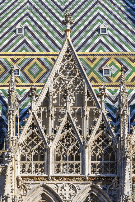 Roof tiles mosaic, St. Stephen's Cathedral or Stephansdom, Vienna, Austria
