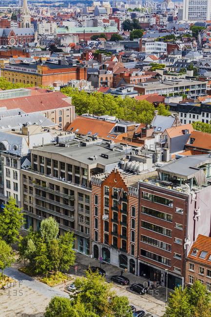 October 10, 2019: Elelvated view of the buildings in Willemdok in Antwerp, Belgium
