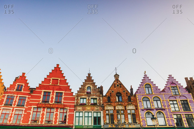 October 10, 2019: Details of the colored houses in Markt Square in Brussels at sunrise, Belgium