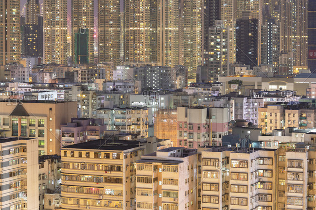 August 13, 2019: Apartment blocks, Kowloon, Hong Kong