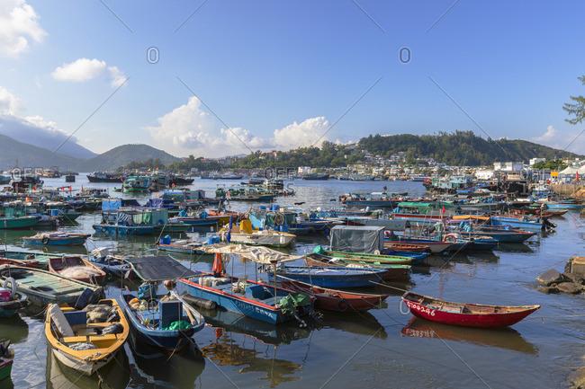 August 27, 2019: Fishing boats in harbour, Cheung Chau, Hong Kong