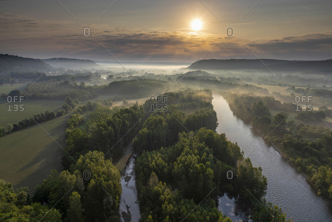Aerial view of the Dordogne Valley & Dordogne river at sunsrise,  Lot, Midi-Pyrenees, France