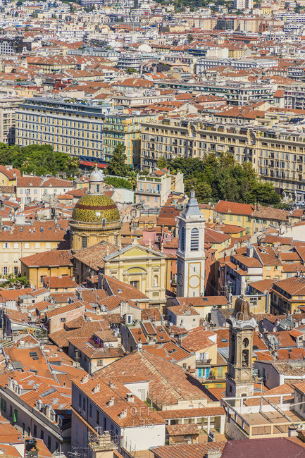 June 20, 2019: View over old town in Nice, Alpes-Maritimes, Provence-Alpes-Cote D'Azur, French Riviera, France