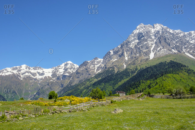 Mount Ushba from Mazeri, Samegrelo-Zemo Svaneti region, Georgia.