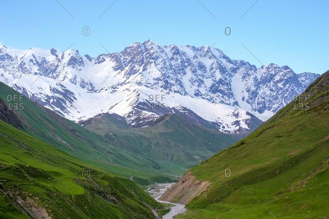 Shkhara peak, the highest point in Georgia, Ushguli, Samegrelo-Zemo Svaneti region, Georgia.