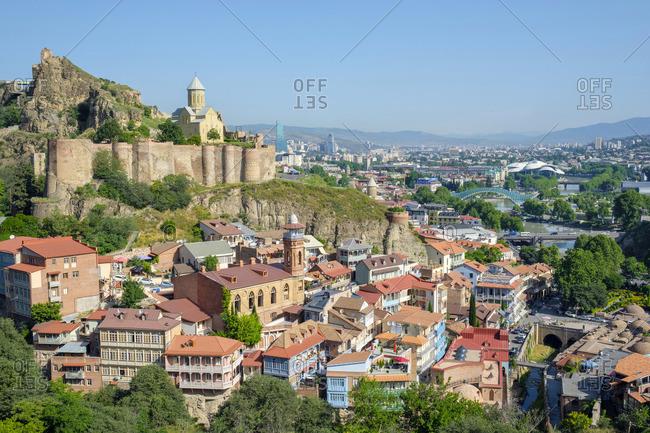 June 5, 2019: Narikala Fortress and historic buildings in the Abanotubani bath district, Tbilisi (Tiflis), Georgia.