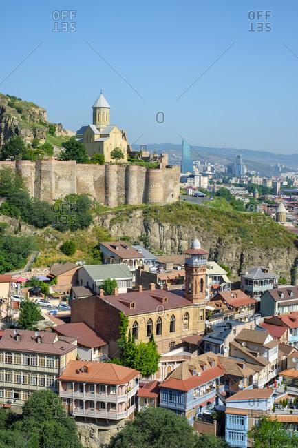 Narikala Fortress and historic buildings in the Abanotubani bath district, Tbilisi (Tiflis), Georgia.