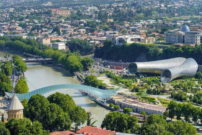 June 5, 2019: Central Tbilisi, Rike Park and Bridge of Peace on the Kura (Mtkvari) River, Tbilisi (Tiflis), Georgia.