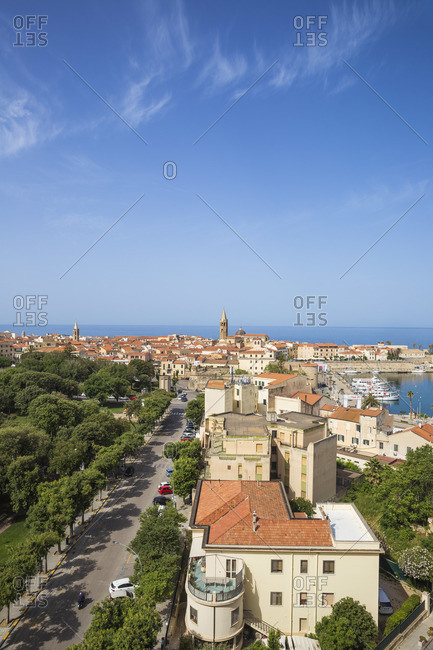 June 9, 2019: Italy, Sardinia, Alghero, View of over harbour towards historical center