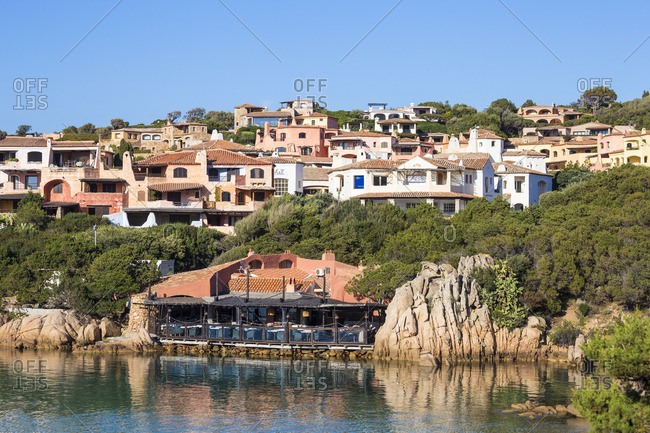 May 23, 2019: Italy, Sardinia, Sassari Province, Costa Smeralda, Porto Cervo, Restaurant at Marina Sardo
