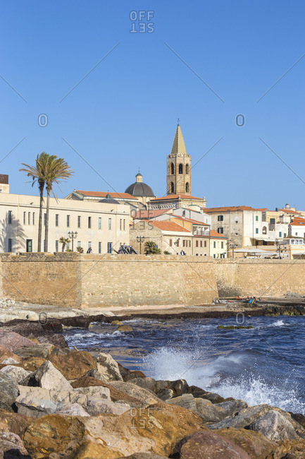 June 6, 2019: Italy, Sardinia, Alghero, View of ancient city walls and the historical center