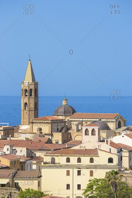 Italy, Sardinia, Alghero, View of historical center towards San Francisco Church