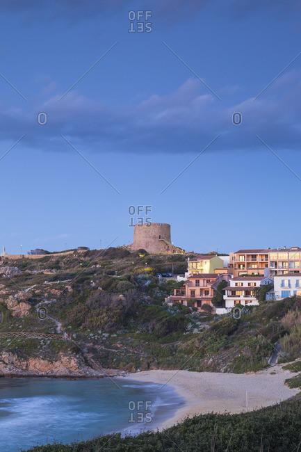 Italy, Sardinia, Santa Teresa Gallura, Rena Bianca beach and Longosardo Tower