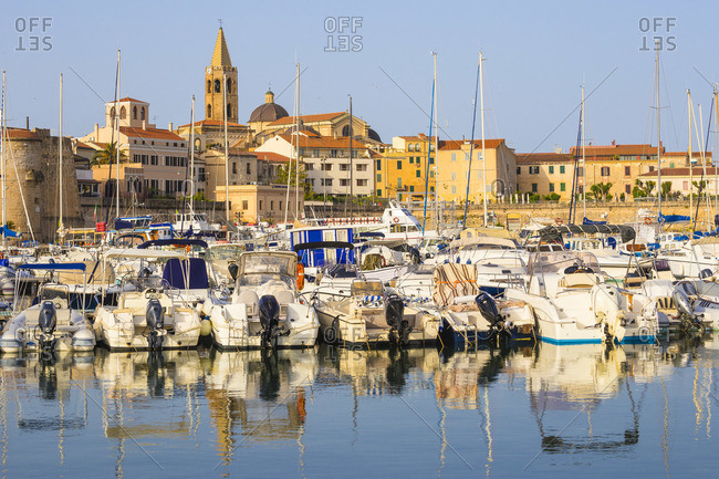 June 7, 2019: Italy, Sardinia, Alghero, View of harbour and the historical center
