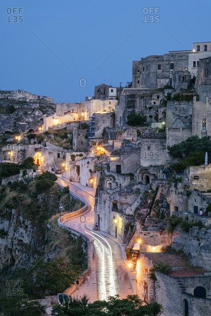 June 22, 2019: Matera, European Capital of Culture 2019. Old town listed as World Heritage by UNESCO, Sasso Barisano at night, Basilicata, Italy