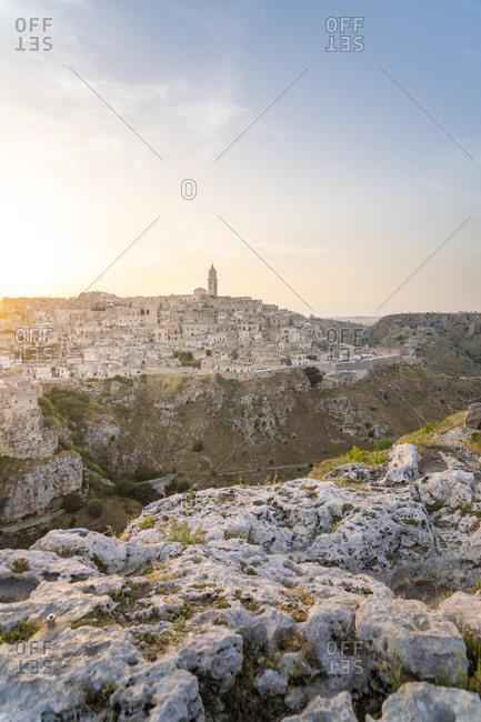 Sunset from La Murgia Belvedere, Matera, Basilicata, Italy. Unesco site and European Capital of Culture 2019