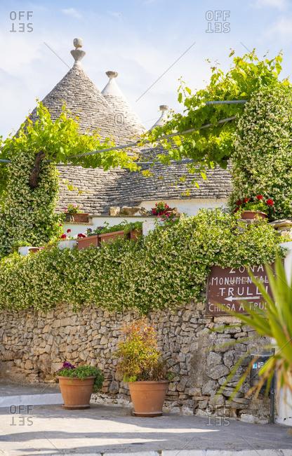 June 20, 2019: Traditional Trulli houses in Alberobello, Puglia, Italy, Europe