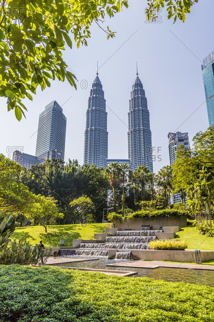 March 16, 2019: Petronas Twin Towers from KLCC Park, Kuala Lumpur, Malaysia, South East Asia, Asia