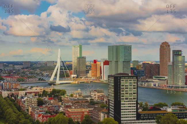 November 20, 2019: Aerial view of Rotterdam skyline with Erasmus bridge and skyscrapers, Holland/Netherlands