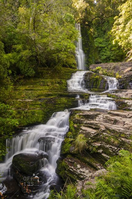 Upper McLean Falls in Catlins Forest Park, The Catlins, Otago Region, South Island, New Zealand