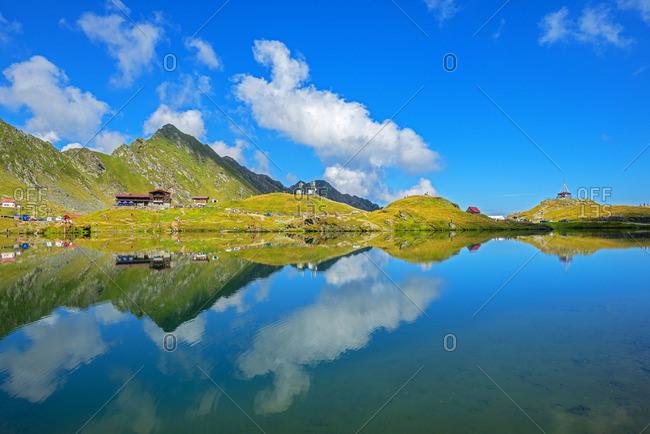 August 22, 2019: Balea lake at Transfagarasan road, Transylvania, Romania