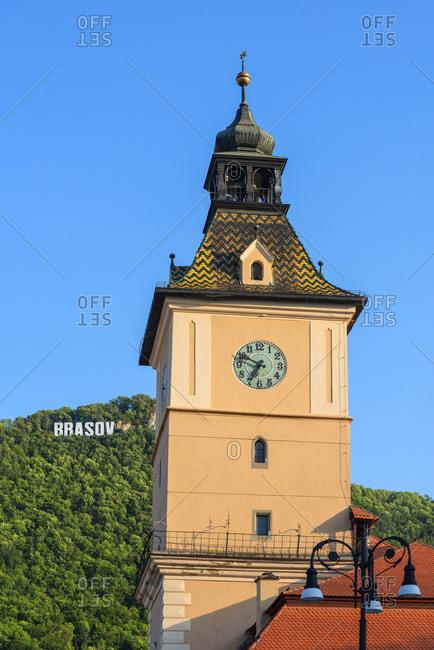 August 17, 2019: Former council house clock tower, Brasov, Transylvania, Romania