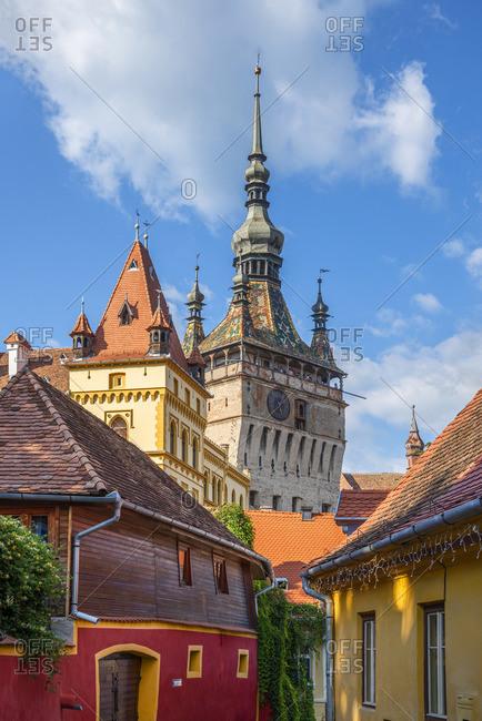 August 21, 2019: The Clock Tower, Unesco World Heritage Site, Sighisoara, Transylvania, Romania