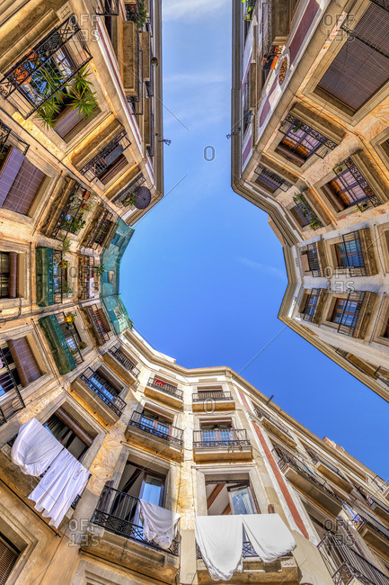 Low angle view of buildings in the Gothic Quarter or Barrio Gotico, Barcelona, Catalonia, Spain