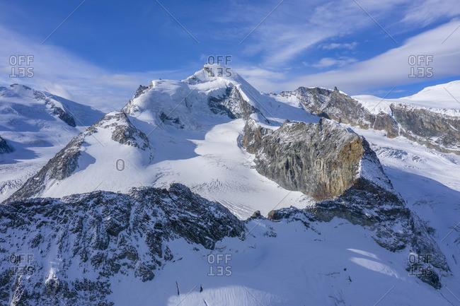Aerial view on Allalinhorn and Strahlhorn, Mischabel mountain range, Saas Fee, Valais, Switzerland