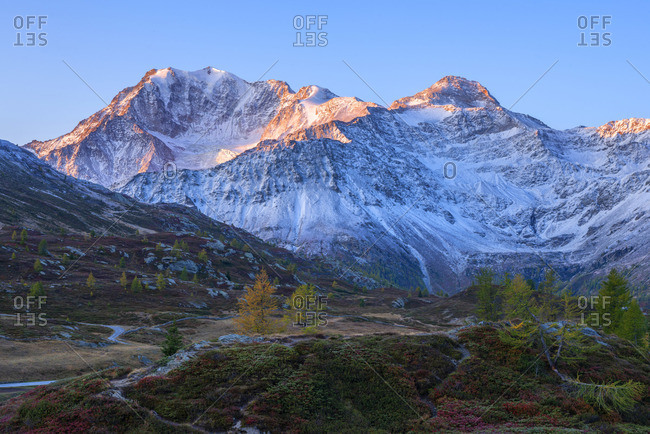 Early morning view on Simplon pass and Fletschhorn, Valais, Switzerland