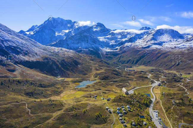 Aerial view on Simplon pass and Fletschhorn, Valais, Switzerland