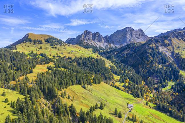 Aerial view from Glaubielen pass at Giswilerstock, Obwalden, Switzerland