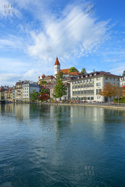 October 12, 2019: Thun with River Aare, Berner Oberland, Switzerland