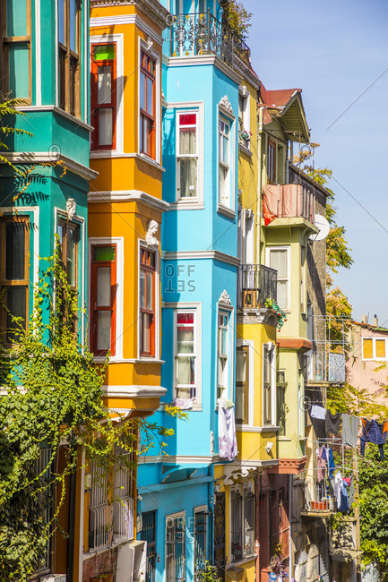 November 7, 2019: Colourful houses, Balat district, Istanbul, Turkey