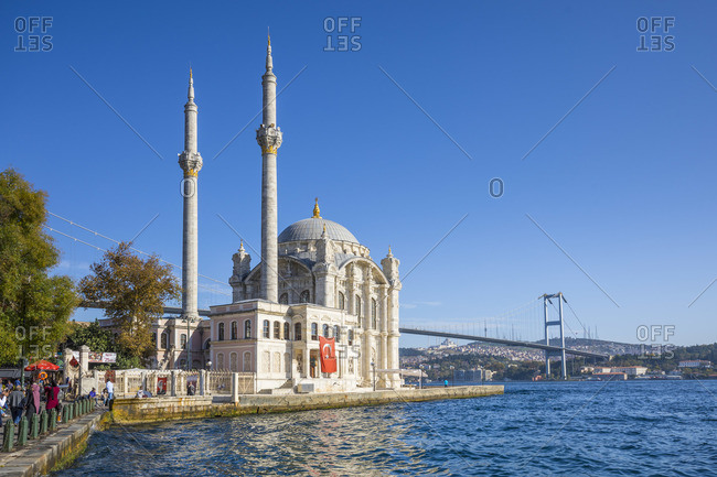 November 8, 2019: Ortakoy Camii (Mosque) and the Bosphorus Bridge, Ortakoy, Istanbul, Turkey