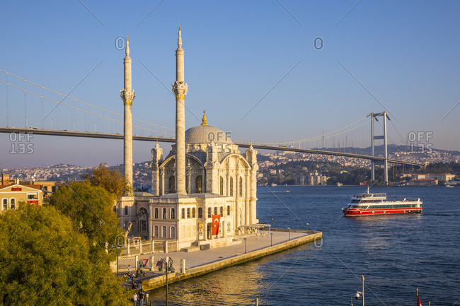 November 12, 2019: Ortakoy Camii (Mosque) and the Bosphorus Bridge, Ortakoy, Istanbul, Turkey
