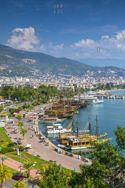 October 19, 2019: Alanya Harbour and Beach, Alanya, Turkey