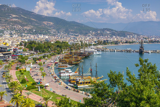 October 19, 2019: Alanya Harbour and Foreshore, Alanya, Turkey