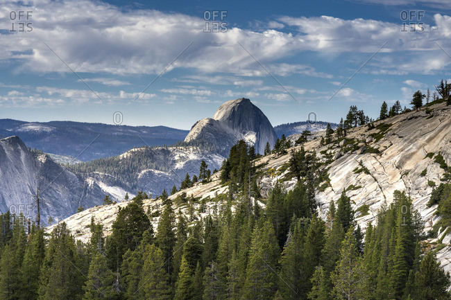Idyllic shot of Northern side of Half Dome on sunny day, Olmsted Point, Yosemite National Park, Sierra Nevada, Central California, California, USA