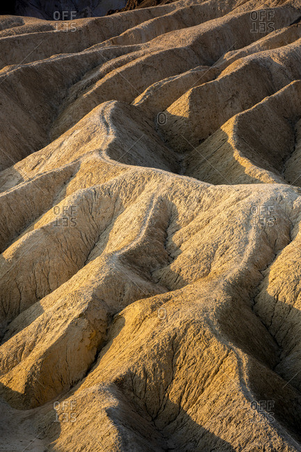 Full frame abstract shot of natural rock formations at Zabriskie Point, Death Valley National Park, Eastern California, California, USA