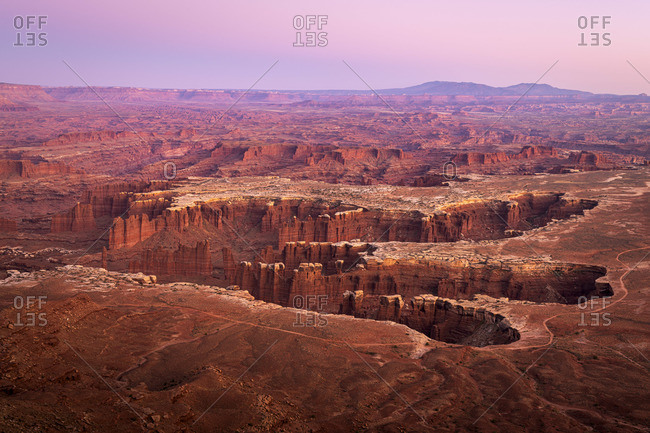 Dramatic canyon terrain at Grand View Point at sunset, Canyonlands National Park, Utah, USA