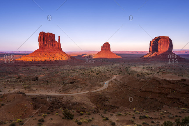 Scenic view of The Mitten buttes at sunset, Monument Valley, Arizona, USA