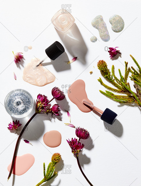 Overhead View of Nail Polish with Flowers