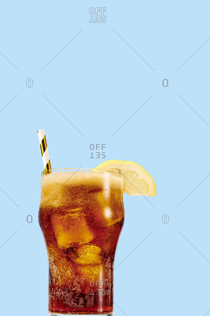 Bell Soda Glass on Plain Background