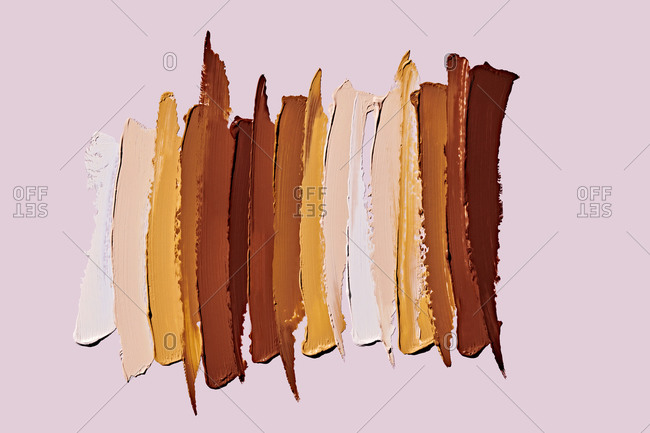 Makeup Swatches on Plain Background
