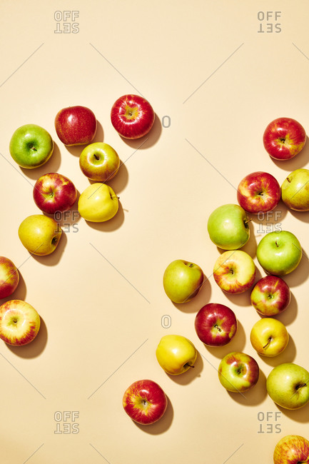 Assortment of Apples on Plain Background