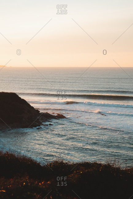 Waves reaching the coast of a surf spot on the south west of France